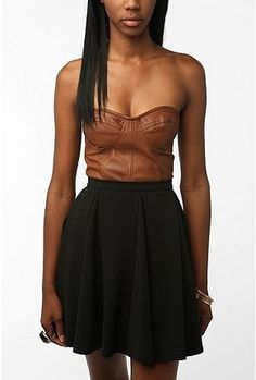 UrbanOutfitters.com > Sparkle & Fade Leatherette Bustier Top - StyleSays
