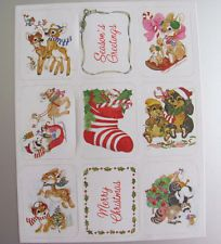Vintage AGC Holiday Christmas Deer Bunny Raccoon Stocking Sticker Sheet