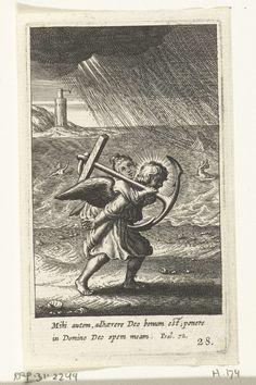 Engel draagt kind met anker op zijn rug, Boëtius Adamsz. Bolswert, 1590 - 1624