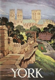 York - The Walled City  1965 Kenneth Steel painting of the York Minster from Station Road.17