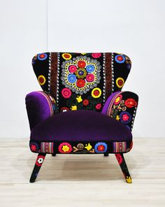 Suzani armchair - deep purple