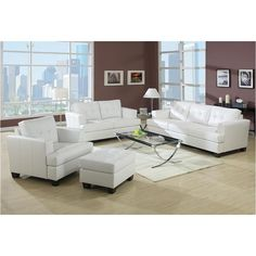 This contemporary white bonded-leather chair combines sleek, elegant lines with the rustic charm of wood. Use this chair to complete an existing seating arrangement or as the pivotal piece when completely resigning your living space.