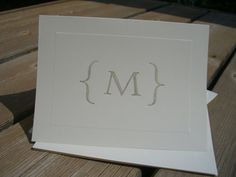 Blind Debossed Bracket Monogram Panel Note Cards in Stardust by mollie MY DESIGN
