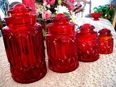 L E Smith Ruby Red Amberina Moon Star Canister Depression Glass Canisters Exc Vintage Dishes, Vintage Glassware, Vintage China, Glass Canisters, Kitchen Canisters, Kitchenware, Cranberry Glass, Christmas Dishes, Kitchen