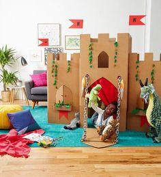 Cardboard Box Crafts: Fun Cardboard Creations for Kids to Play With – Handwerk und Basteln Cardboard Box Castle, Cardboard Crafts Kids, Big Cardboard Boxes, Cardboard Animals, Cardboard Playhouse, Fun Crafts For Kids, Diy For Kids, Activities For Kids, Cardboard Tubes