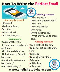 How To Write the Perfect Email - English Study Here English Speaking Skills, Teaching English Grammar, English Writing Skills, English Vocabulary Words, Learn English Words, English Phrases, English Language Learning, Teaching Writing, English Tips