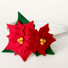 Poinsettia Headband, Holiday Headband, Winter Head Wreath, Felt Poinsettia, Felt Headband, Red, Green, Pearls, Girls Women Children