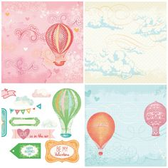 Hot air balloons free printable papers from Papercraft Inspirations magazine