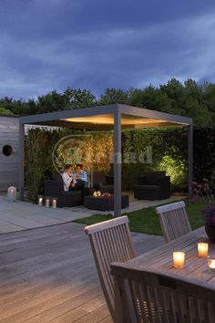 Renson Algarve - terrace covering - can be integrated with Led lighting, heating and sound (Light & Beam module) Light Beam, Algarve, Beams, Blinds, Terrace, Pergola, Pallet, Shutters, Window Blinds