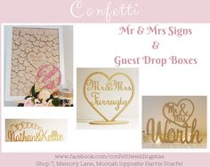 Mr Mrs Sign, Toasting Flutes, Wedding Confetti, Wishing Well, Cake Toppers, Place Card Holders, Memories, Store, Memoirs