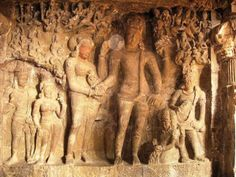 The marriage of Shiva and Parvati - Ellora Cave carving #art #love #hindu #sculpture
