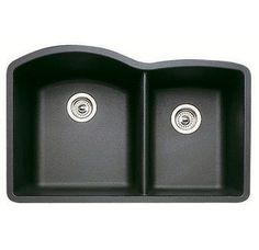"Blanco 440179 Diamond 32"" Double Basin Undermount Silgranit II Kitchen Sink with 60/40 Split - FaucetDirect.com  In Black"