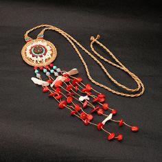 Women's Bohemian Ethnic Turquoise Beads Shell Tassel Necklace