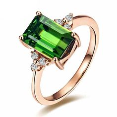 Fashion Gemstone Green Tourmaline Emerald Cut 14K Rose Gold Engagement Women's Diamond Band Ring Set   About Kardy Jewelers Kardy Jewelry is professional production of fashion perfect jewelry brand , Read  more http://shopkids.ca/fashion-gemstone-green-tourmaline-emerald-cut-14k-rose-gold-engagement-womens-diamond-band-ring-set/