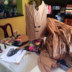 #DIY #Groot kids costume. I am making my son Dylan's costume. Cardboard and packaging paper that came with a wireless computer keyboard we ordered. Good this I saved it.