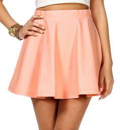 Blush Faux Leather Skater Skirt
