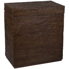 Baolgi Rectangular Laundry Basket - Teak ($450) ❤ liked on Polyvore featuring home, home decor, small item storage, brown, brown woven baskets, woven basket, brown basket, lidded basket and colored baskets