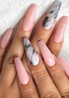 Marble Shaped Pink Nail Art To Create 2019 - . - Marble Shaped Pink Nail Art To Create 2019 – art - Edgy Nails, Stylish Nails, Grunge Nails, Cute Nails, Pretty Nails, Tribal Nails, Polygel Nails, Gorgeous Nails, Halloween Acrylic Nails