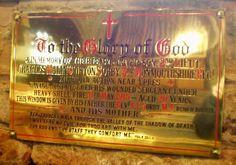 Barnsley War Memorials Project: Darfield, All Saints Church, 2nd Lt C M C Sorby - window & plaque