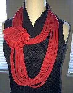 Red Women's Tee Infinity Scarf