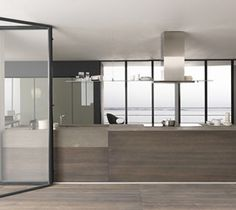 Cuisine en bois brun et armoires coplanaires en verre Twenty Legno - Porto Venere