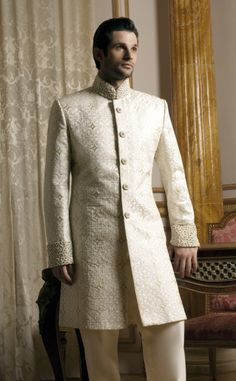 MF04 - ivory brocade silk Asian fusion sherwani with pearls and diamante embroidery