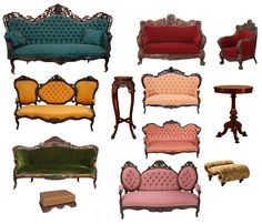 Victorian sofas - not really my style and not really chairs, but I love the yellow and the turquoise sofas.