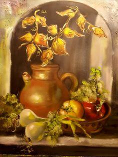 Bodegón con cebolletas y pimientos  oleo/lienzo  65x81