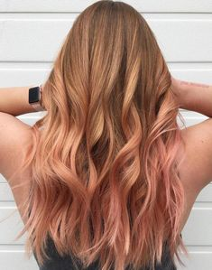Pastel Pink Ombre For Auburn Hair