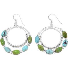 Jay King Blue and Green Turquoise Circle Drop Earrings