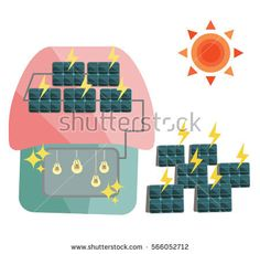 vector illustration of  cute house with solar panel on the rooftop