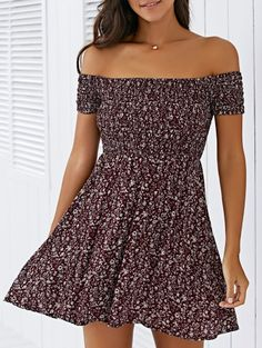 SHARE & Get it FREE | Tiny Floral Print Elastic Waist Off The Shoulder DressFor Fashion Lovers only:80,000+ Items • New Arrivals Daily Join Zaful: Get YOUR $50 NOW!