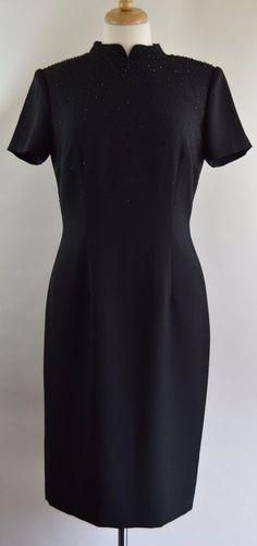 Adrianna Papell Womens Size 6 Black Beaded Dress EX Used #AdriannaPapell #Sheath #Formal