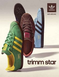 trimm stars - one of my favourites - Here we have a classic adidas poster Adidas Vintage, Adidas Retro, Adidas Classic Shoes, Classic Sneakers, Adidas Sneakers, Shoes Sneakers, Adidas Spezial, Adidas Originals, Sergio Tacchini
