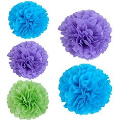 SUNBEAUTY Pack of 5 Mixed Color Lavender Green Turquoise Blue Tissue Paper Flowers Paper Pom Poms Flowers Wedding Decor Home Party Hanging Decoration LTBG2 >>> You can find out more details at the link of the image.Note:It is affiliate link to Amazon.