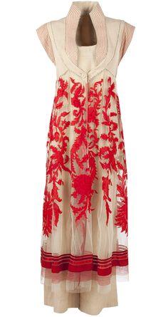 Red and beige applique work jacket with pants by TARUN TAHILIANI. http://www.perniaspopupshop.com/designers-1/tarun-tahiliani