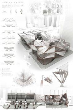 Truss tessellation on behance grad presentation board design, architecture desi Interior Architecture Drawing, Architecture Design, Architecture Panel, Architecture Graphics, Concept Architecture, Classical Architecture, Minecraft Architecture, Minimalist Architecture, Presentation Board Design