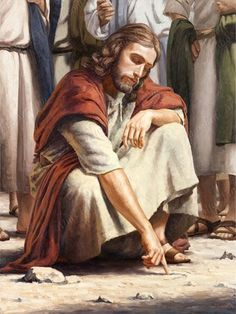 Our Lord Jesus Christ drawing in the sand- enter the kingdom of God with child-like faith. Religious Pictures, Bible Pictures, Jesus Pictures, Jesus Our Savior, Jesus Is Lord, Jesus Face, Prophetic Art, Biblical Art, Bible Art