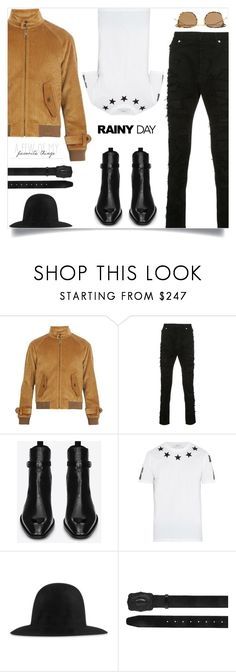 """Splish Splash: Rainy Day Style"" by tina-abbara ❤ liked on Polyvore featuring Prada, Balmain, Yves Saint Laurent, Givenchy, Gucci, Dsquared2, Thom Browne, men's fashion and menswear"