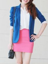 Blue Long Sleeve Striped Inside One Button Silm Blazer $31.76