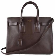 New Yves Saint Laurent YSL Brown Leather Sac de Jour Small Handbag Purse W/Strap #YSLYvesSaintLaurent #ShoulderBag