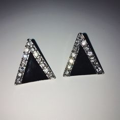 Triangle Stud Earrings Silver and Black diamond triangle studs. Gently worn. PERFECT condition! Approx 1 - 1 1/2 inches. ✨ New York & Company Jewelry Earrings
