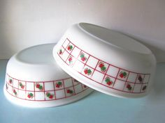 Pyrex bowl, vintage pyrex, red square patterned pyrex, Pyrex cereal bowl, Red and green pyrex,  1970s pyrex bowl by thevintagemagpie01 on Etsy