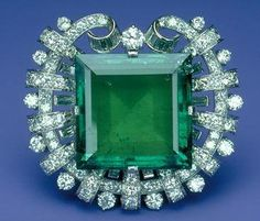 The Hooker Emerald.  This superb 75.47carat Colombian emerald was once the property of Abdul Hamid II, Sultan of the Ottoman Empire (1876-1909), who wore it on his belt buckle. Tiffany & Co. acquired the emerald in 1911 and initially set it into a tiara. In 1950, it was mounted in its current brooch setting. Mrs. Janet Annenberg Hooker purchased the brooch from Tiffany in 1955, and in 1977 she donated it to the Smithsonian Institution.