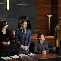 Matthew Lillard, Julianna Margulies, Matt Czuchry, and Christopher Fitzgerald in The Good Wife (2009)