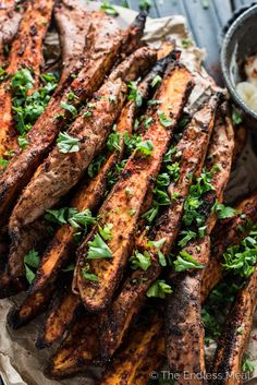 These easy to make Sweet and Spicy Yam Wedges are covered in smoked paprika and chili spices then baked till tender and delicious. Healthy Potato Recipes, Sweet Potato Recipes, Healthy Food, Vegan Recipes, Food Dishes, Side Dishes, Garlic Butter Mushrooms, Chili Spices, Carne Asada