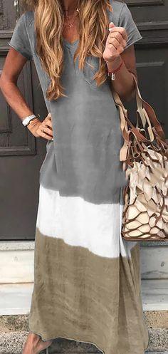 Women Tie-dyed V Neck Linen Short Sleeve Maxi Dress Neckline:V neck Theme:Summer Decoration:Printed Material:Cotton Pattern Type:Striped Sleeve Type:Short Sleeve Style:Casual Shoulder Casual Dresses, Casual Outfits, Summer Outfits, Fashion Dresses, Summer Dresses, Maxi Dresses, Trendy Dresses, Vacation Dresses, Floral Dresses