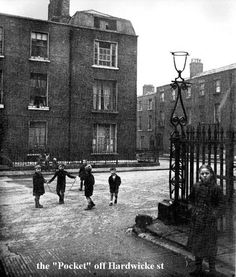 The buildings known as 'George's Pocket'. George's Pocket used to be a sort of 3 sided square around St George's Church -- the church being 'in' the square if that makes sense. Then in the they built flats behind the church. Dorset Street, Dublin Street, Dublin City, Ireland Pictures, Old Pictures, Old Photos, Photo Engraving, Dublin Ireland, Saint George