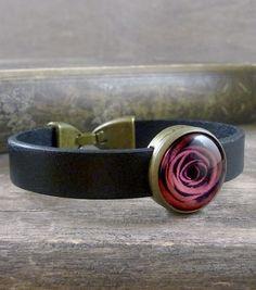 Red rose bracelet, Black leather bracelet, Red rose jewelry, Flower bracelet, Red flower cuff, Leather wristband, Picture bracelet
