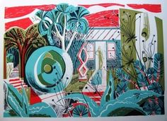 'Barbara's Garden' (Barbara Hepworth garden at St Ives) by Clare Curtis, 2014 (lithograph) Collage Illustration, Garden Art, Painting Prints, Home Art, Printmaking, Landscape Paintings, Contemporary Art, Abstract, Scilly Isles